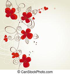 flores, vetorial, ornamento, vermelho