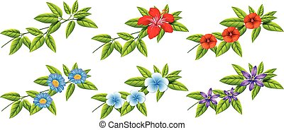 Hojas Azules Flores Verde Hojas Azules Ilustracion Fondo Verde