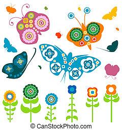 flores, y, mariposas
