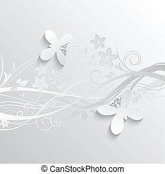 flores, y, mariposas, plano de fondo