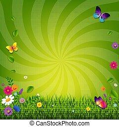 flores, y, pasto o césped