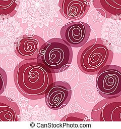 flores, y, remolinos, seamless, patrón