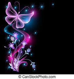 flores, y, transparente, mariposa