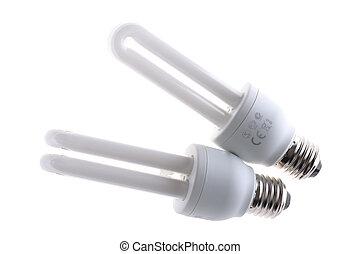florescent light bulb on white background