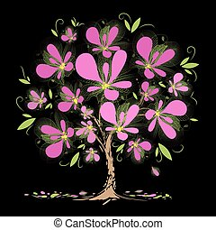 florescer, árvore, com, flores côr-de-rosa