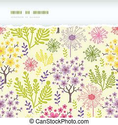florescer, árvores, horizontais, rasgado, quadro, seamless, padrão, fundo