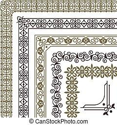 florescer, cartão, azulejo, padrão, corners., fronteiras, ornamento, filigrana, casório, vindima, quadro, vetorial, seamless, jogo