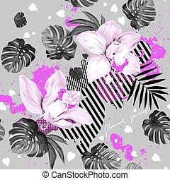 florescer, dois, orquídeas
