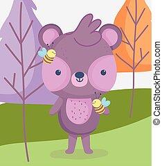 floresta, árvores, prado, urso, caricatura, animais, abelhas, cute