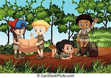 floresta, acampamento, crianças