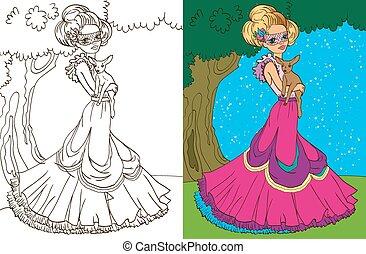 floresta, coloração, princesa, livro
