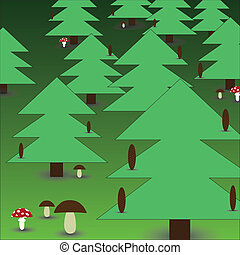 floresta, com, cogumelos, eps10