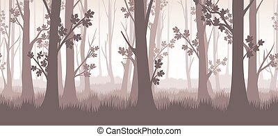 floresta, crepúsculo, ilustração