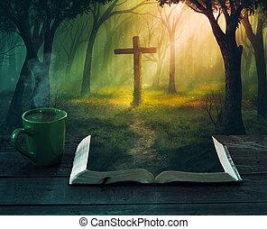floresta, e, crucifixos