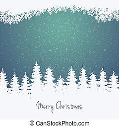 floresta, estrelas, inverno, fundo, neve