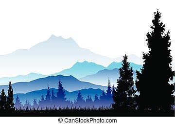 floresta, fundo, pinho
