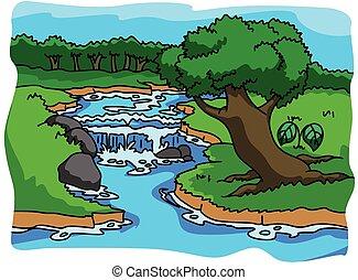 floresta, ilustração, natureza
