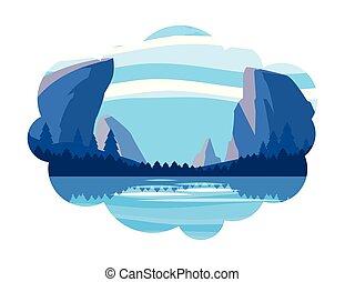 floresta, montanhas, snowscape, lago, cena