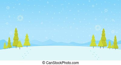 floresta, natal, madeiras, neve, pinho, vetorial, inverno, ilustração, fundo, paisagem, árvores