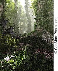 floresta nebulosa, 3d, computação gráfica