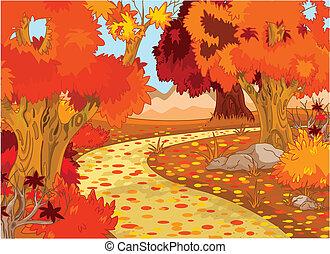 floresta, paisagem outono