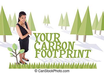 floresta, pegada, contra, carbono, árvores, seu