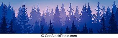 floresta pinho, paisagem, montanha, céu, madeiras