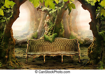 floresta, romanticos, profundo, assento