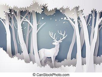 floresta, snow., veado