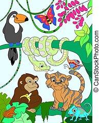 floresta, vetorial, animais, selva, caricatura