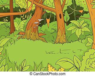 floresta, vetorial, caricatura, ilustração, selva