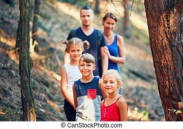 floresta, viagem familiar