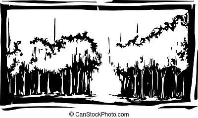 floresta, woodcut