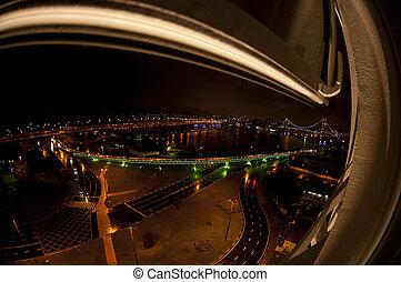 The city of Florianópolis at night
