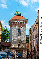 Florian Gate and the city of Krakow, Poland