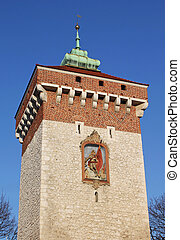 Florian Gate in Krakow, Poland