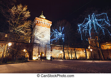 Florian Gate in Old Town in Krakow at night