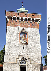Florian Gate in Old Town, Krakow, Poland