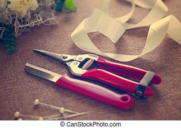 floricultor, workplace., ferramentas, accessories.