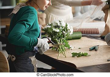 floricultores, fazer, buquê flor