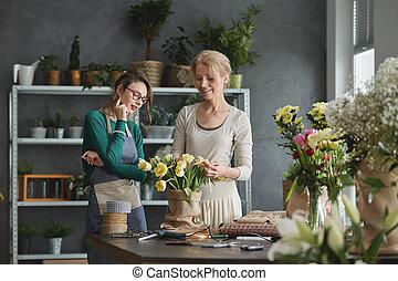 floricultores, fazer, buquês