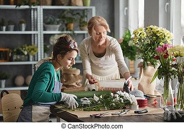 floricultores, fazer, flores, buquês
