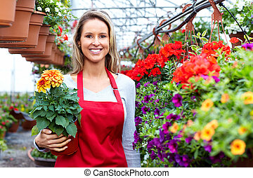 floricultores, mulher, trabalhar, flor, um, shop.