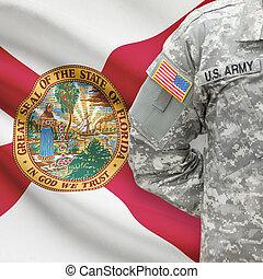 florida, -, állam, bennünket, katona, lobogó, háttér, amerikai