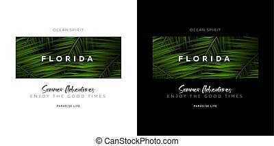 Florida and Miami. USA. Palm leaves typography t-shirt print.