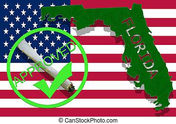florida, auf, cannabis, hintergrund., droge, policy., legalization, von, marihuana, auf, usa markierung
