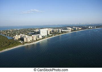 Florida beach. - Aerial view of resort buildings on Key ...