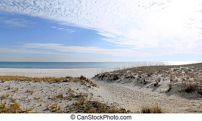 Florida beach on the Gulf of Mexico in winter.