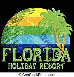 Florida beach typography tee graphic design