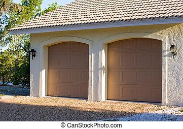 florida, bil, garage, två